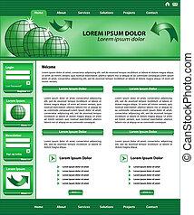 ウェブサイト, デザイン, 緑, テンプレート