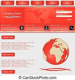 ウェブサイト, デザイン, vector., テンプレート