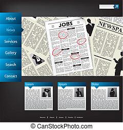 ウェブサイト, ニュース, デザイン, テンプレート