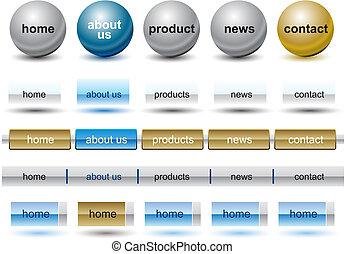 ウェブサイト, バー, セット, ボタン, テンプレート, 白
