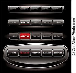 ウェブサイト, バー, セット, ボタン, 黒, テンプレート