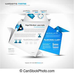ウェブサイト, ビジネス, presentations., -, 優雅である, デザイン, origami