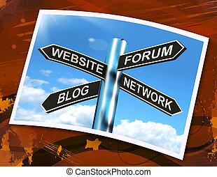 ウェブサイト, フォーラム, blog, ネットワーク, 印, ショー, インターネット