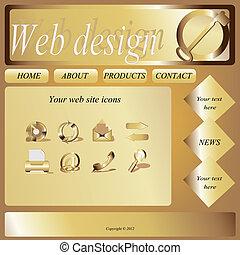 ウェブサイト, ベクトル, デザイン, テンプレート, アイコン
