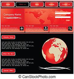 ウェブサイト, ベクトル, デザイン, テンプレート