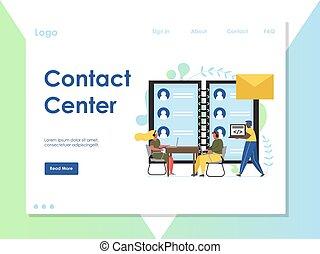 ウェブサイト, ベクトル, 中心, 着陸, 連絡, デザイン, テンプレート, ページ