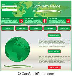 ウェブサイト, ベクトル, 緑, templa, デザイン