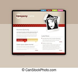 ウェブサイト, ベクトル, 芸術, template.