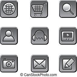 ウェブサイト, ボタン, セット, アイコン