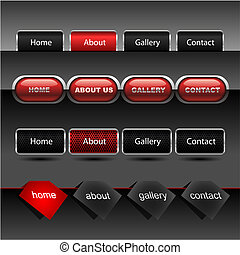 ウェブサイト, ボタン, ベクトル, editable