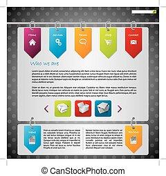 ウェブサイト, ラベル, デザイン, 掛かること