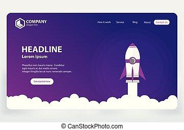 ウェブサイト, ランキング, 概念, 着陸, ベクトル, デザイン, テンプレート, ページ