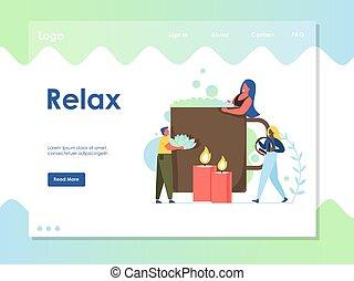 ウェブサイト, リラックスしなさい, 着陸, ベクトル, デザイン, テンプレート, ページ