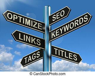 ウェブサイト, リンク, 道標, 提示, seo, optimization, マーケティング, keywords, optimize