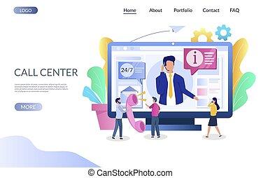 ウェブサイト, 中心, 着陸, ベクトル, 呼出し, テンプレート, デザイン, ページ