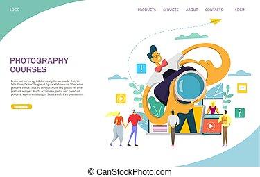 ウェブサイト, 写真撮影, 着陸, コース, ベクトル, デザイン, テンプレート, ページ