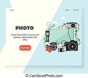 ウェブサイト, 写真撮影, 着陸, ベクトル, デザイン, テンプレート, ページ
