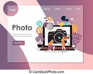 ウェブサイト, 写真, 着陸, ベクトル, デザイン, テンプレート, ページ