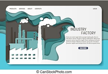 ウェブサイト, 切口, 工場, ベクトル, ペーパー, 着陸, テンプレート, 産業, ページ