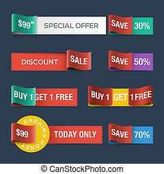 ウェブサイト, 割引, リボン, セール, コレクション