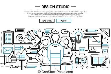 ウェブサイト, 単純である, -, デザインスタジオ, 線, 旗