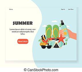 ウェブサイト, 夏, 着陸, ベクトル, デザイン, テンプレート, ページ