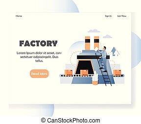 ウェブサイト, 工場, 着陸, ベクトル, デザイン, テンプレート, ページ