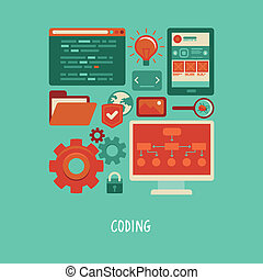 ウェブサイト, 平ら, アイコン, コーディング, -, ベクトル, 開発