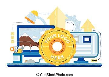 ウェブサイト, 平ら, イメージ, 処理, -, デザイン, ロゴ, 旗, テンプレート
