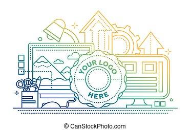 ウェブサイト, 平ら, イメージ, 処理, -, デザイン, ロゴ, 線, 旗, テンプレート