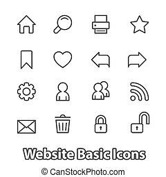 ウェブサイト, 平ら, セット, アイコン, 基本, 輪郭