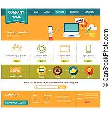 ウェブサイト, 平ら, デザイン, ビジネス, テンプレート