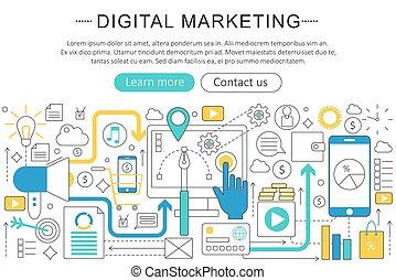 ウェブサイト, 平ら, ビデオ, 要素, poster., マーケティング, プレゼンテーション, 優雅である, concept., 現代, ベクトル, layout., ヘッダー, フライヤ, デザイン, デジタル, オンラインで, 芸術, 線, 旗, 薄くなりなさい