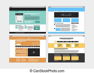 ウェブサイト, 平ら, 抽象的, セット
