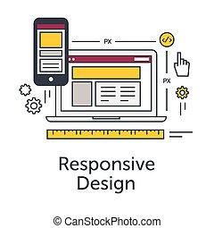 ウェブサイト, 平ら, 概念, illustration., 網, ラップトップ, 現代, development., ベクトル, デザイン, 薄くなりなさい, 敏感, グリッド線, 旗, icon., smartphone.