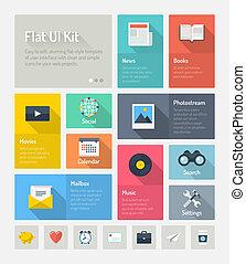 ウェブサイト, 平ら, 概念, infographic, ユーザインタフェース