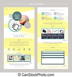 ウェブサイト, 幾何学的, デザイン, テンプレート, 1(人・つ), ページ