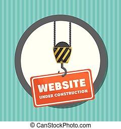 ウェブサイト, 建設, 旗, 下に