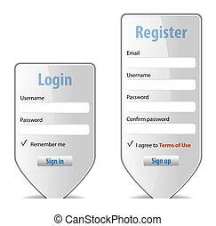 ウェブサイト, 形態, 要素, デザイン, インターフェイス, ログイン