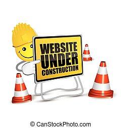 ウェブサイト, 微笑, 建設, 下に