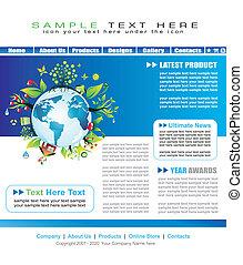 ウェブサイト, 抽象的, イラスト, テンプレート, 地球, enviromental