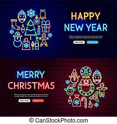 ウェブサイト, 旗, ネオン, クリスマス