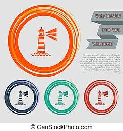 ウェブサイト, 灯台, 青, スペース, text., ボタン, ベクトル, デザイン, オレンジ, 緑, 赤, あなたの, アイコン