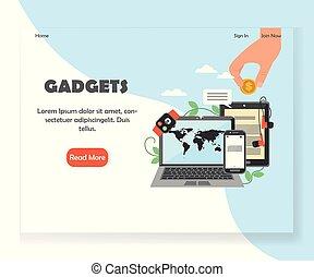 ウェブサイト, 現代, 着陸, 小道具, ベクトル, デザイン, テンプレート, ページ