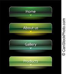 ウェブサイト, 眺望, セット, スタイル, ボタン, 黒, テンプレート