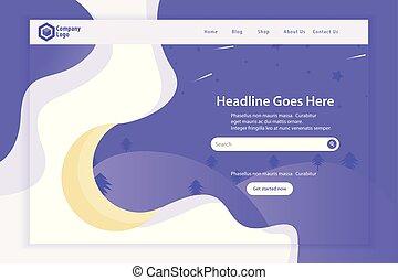 ウェブサイト, 着陸, ベクトル, デザイン, テンプレート, 新しい, ページ