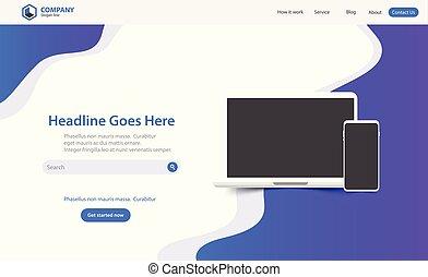 ウェブサイト, 着陸, ベクトル, デザイン, テンプレート, 最新流行である, 新しい, ページ