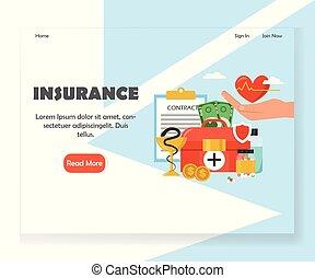 ウェブサイト, 着陸, 保険, ベクトル, デザイン, テンプレート, ページ