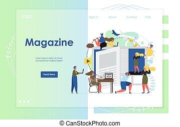 ウェブサイト, 着陸, 雑誌, ベクトル, デザイン, テンプレート, ページ