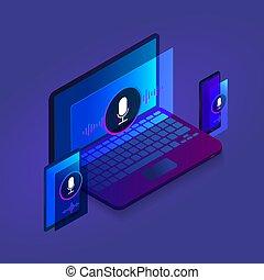 ウェブサイト, 等大, 背景, タブレット, イラスト, モビール, 旗, 現代, 捜索しなさい, ラップトップ, 暗い, 電話, optimization, デザイン, テンプレート, アイコン, 声, 技術